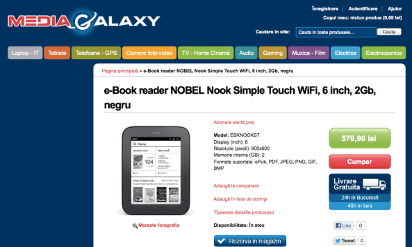 Nook Touch eBook Reader